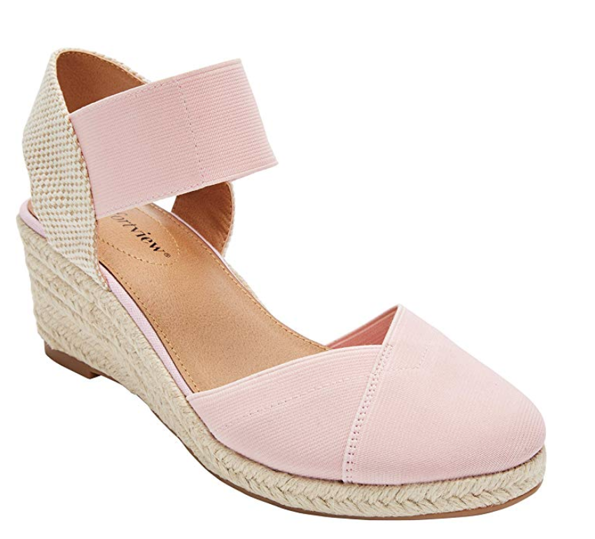 Pink and tan wide width women's espardrille shoe