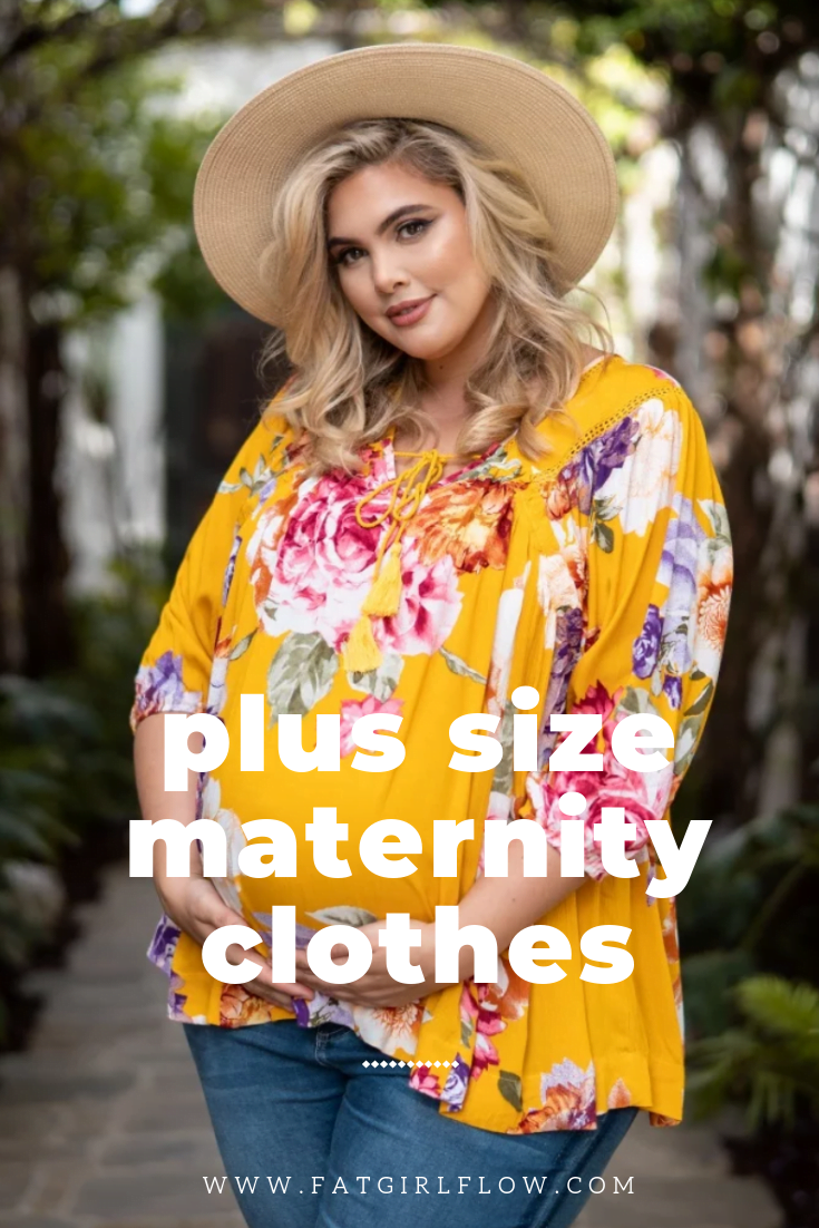pregnant blonde model wearing wide round tan hat and yellow flowy floral shirt with tie on neckline and long sleeves. medium wash jeans. text on image reads 'plus size maternity clothes www.fatgirlflow.com