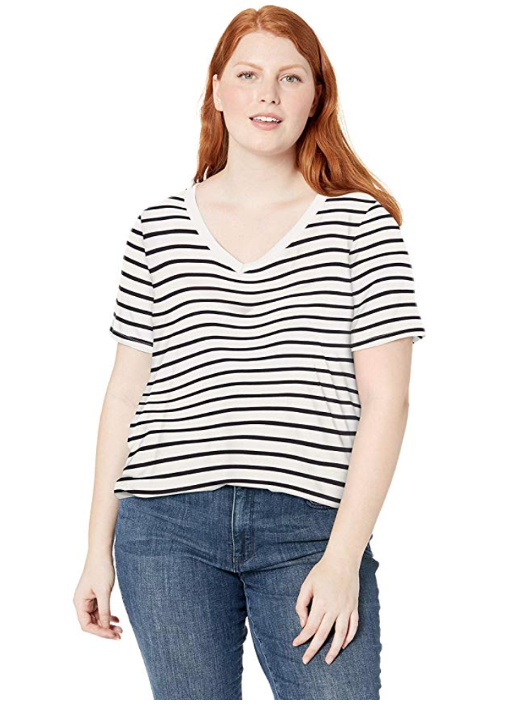 plus size striped oversize shirt