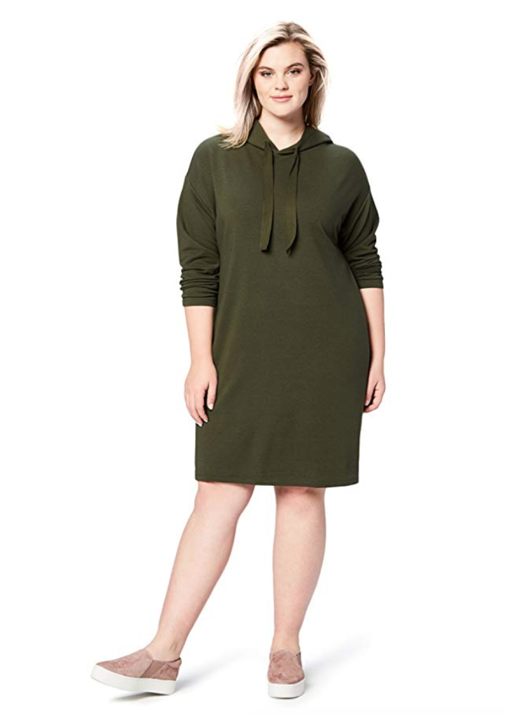 plus size sweatshirt dress in forest green