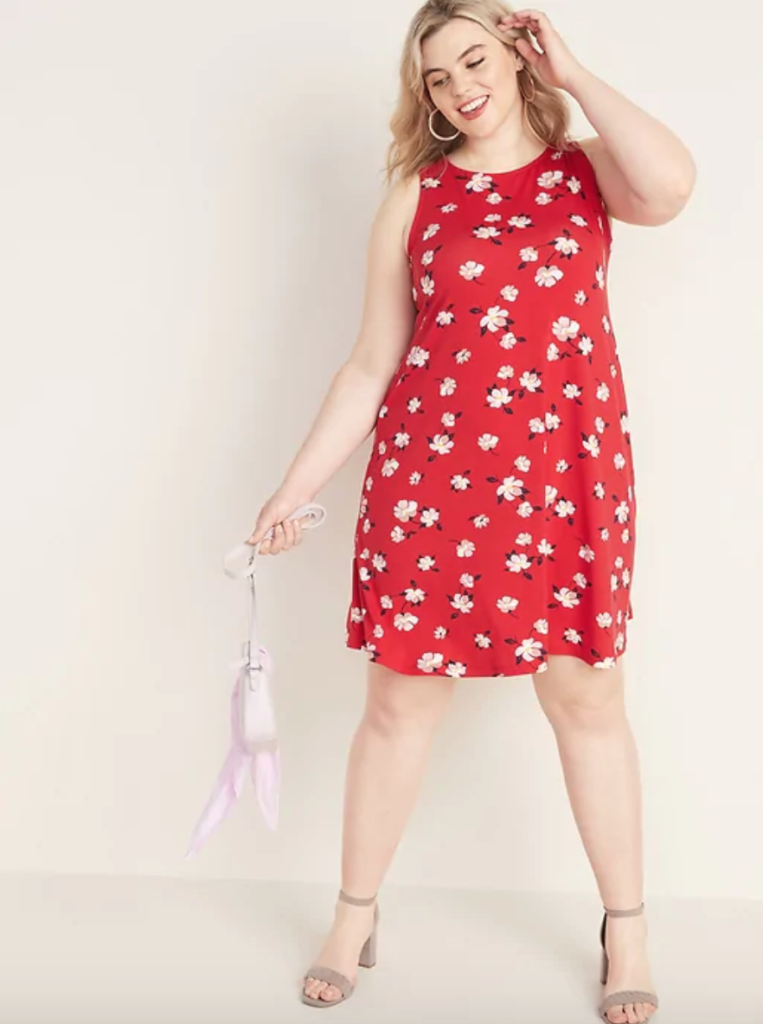 red floral plus size swing dress
