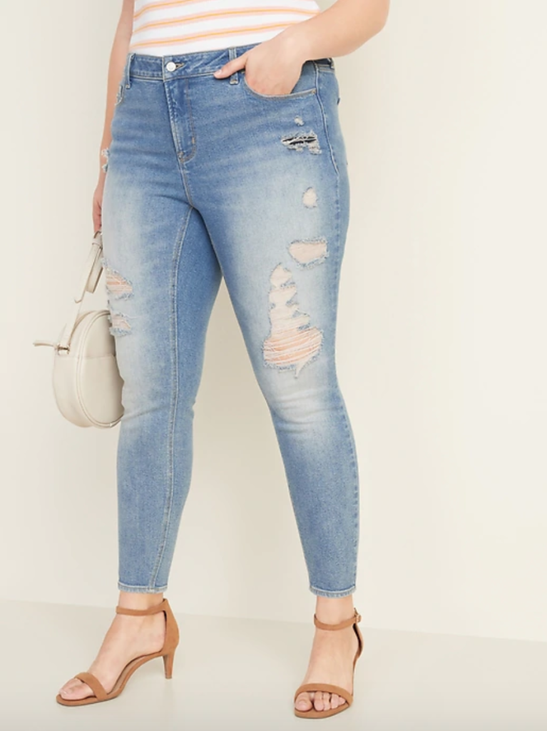 plus size destructed denim from old navy