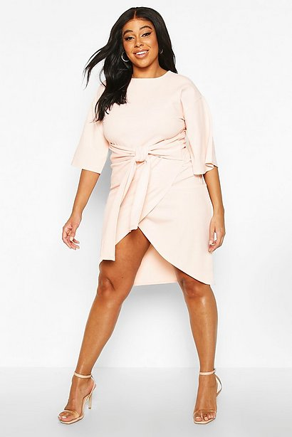 Peach plus size dress with tie front