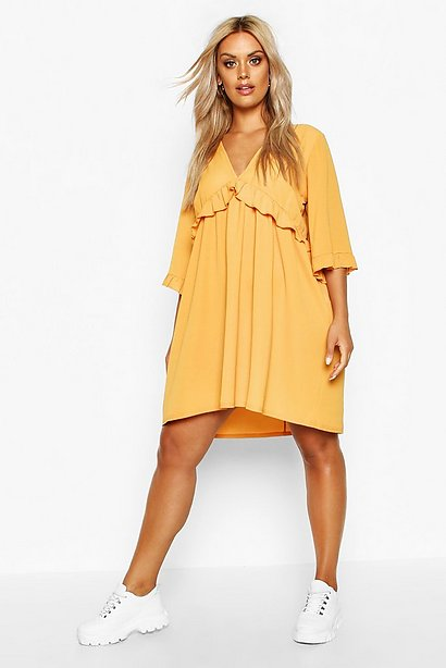 Golden Yellow Ruffle Front Boho Dress