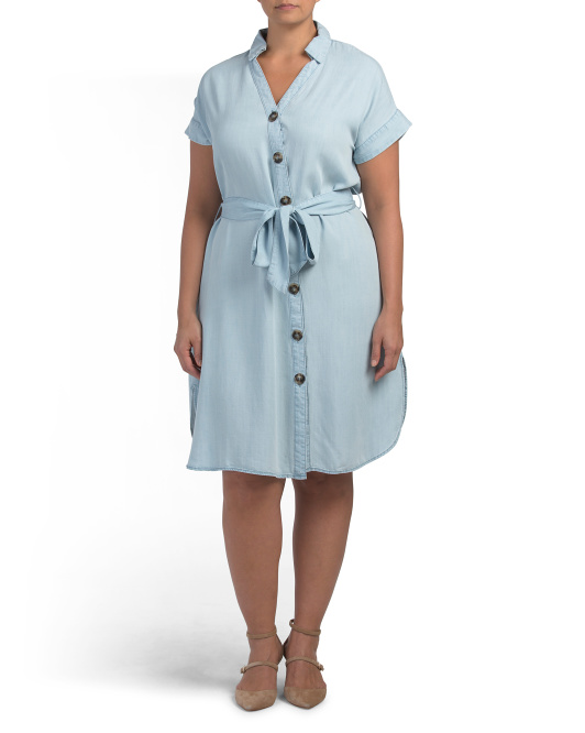 Plus size chambray dress with tie front