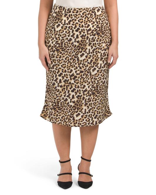 Leopard print plus size a line skirt