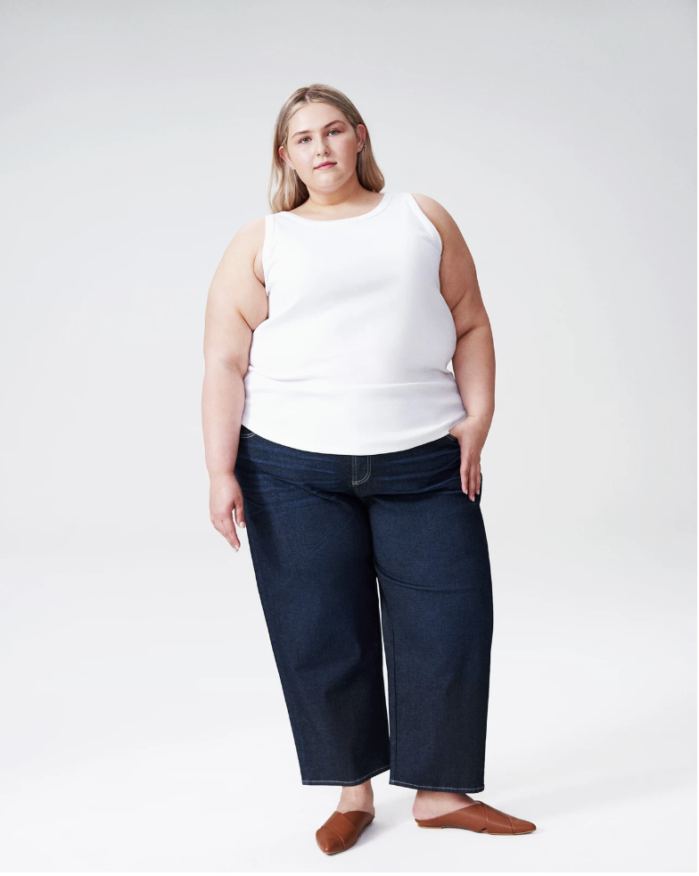 plus size blonde woman wearing cropped wide leg jeans