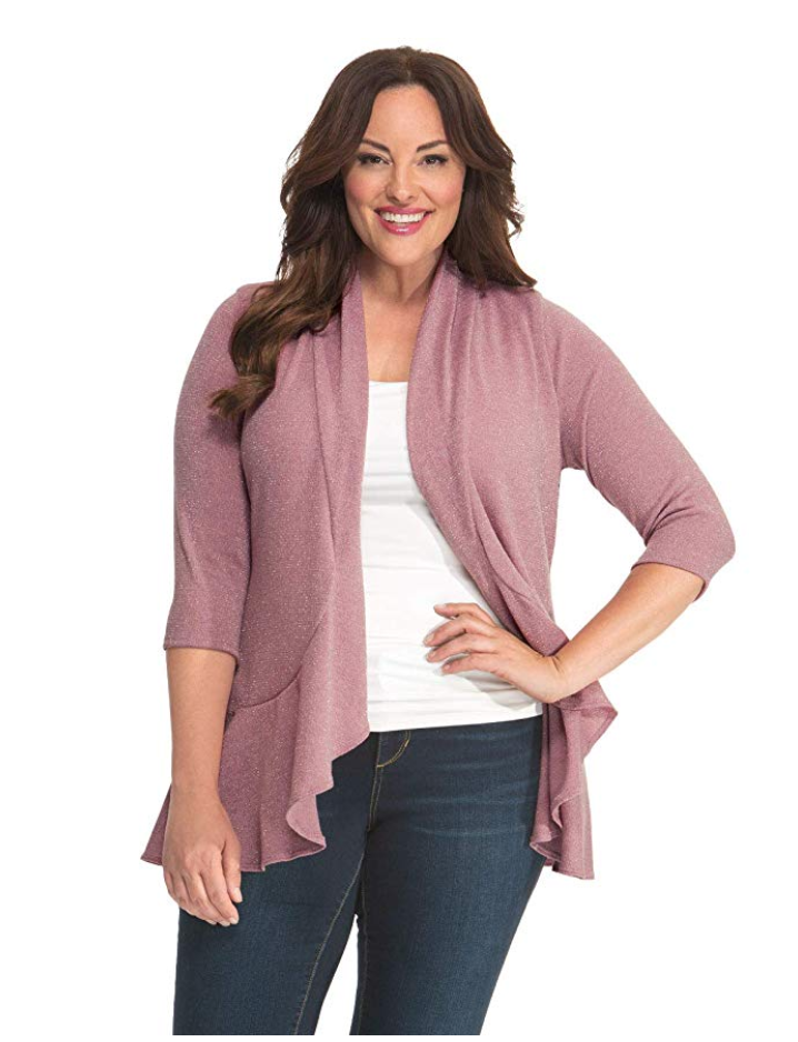rose colored cardigan in plus size up to 5x