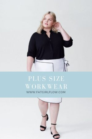 "grey background, blonde person wearing a womens white skirt with black piping and large black piped square detail, black button down short, and black sandals. light turqouise banner says ""where to shop for plus size work wear"""