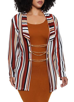 Plus Size Striped Chain Button Blazer