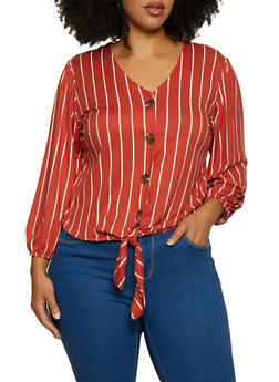 plus size striped tie front blouse in orange and white