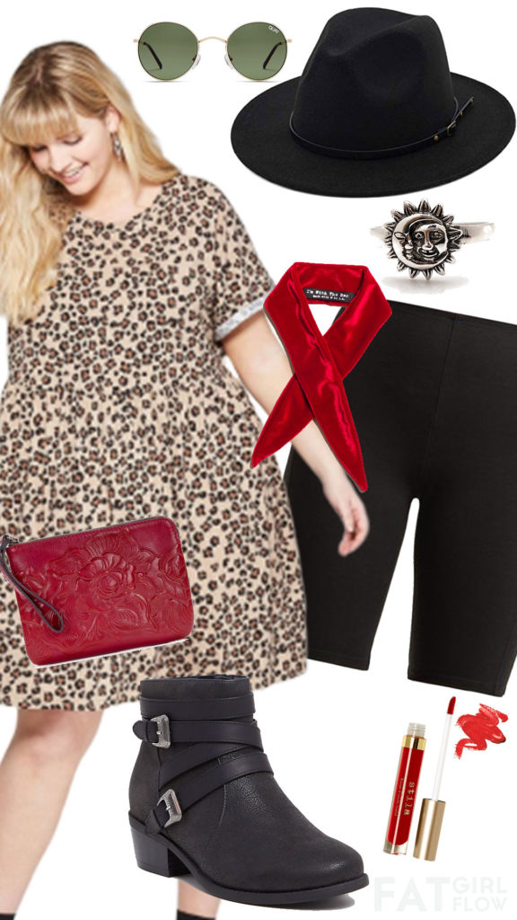 red, black, and leopard plus size outfit