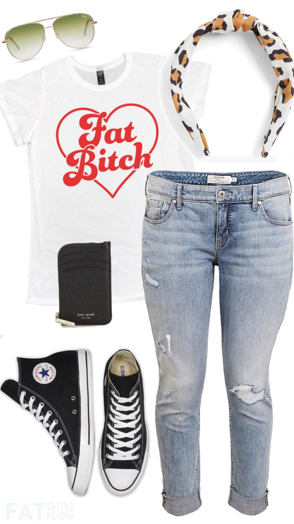 casual plus size outfit with jeans and converse and a white tee