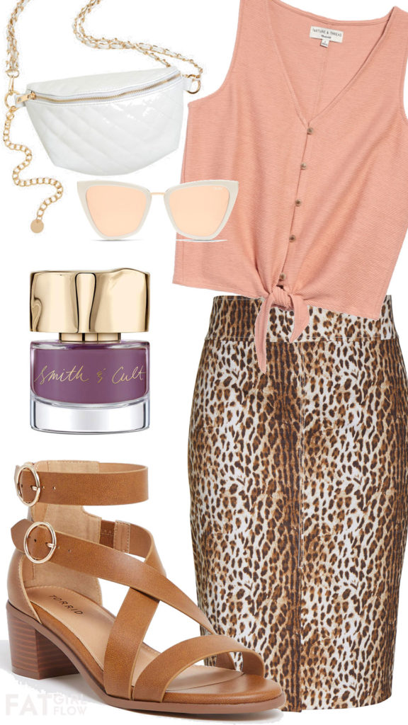 plus size outfit with peach tank and leopard skirt