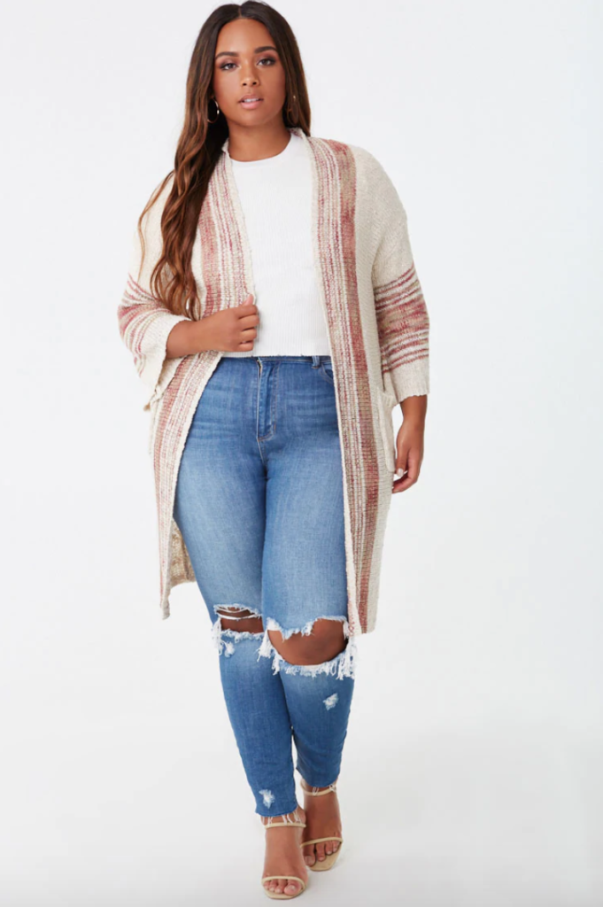 plus size crochet striped cardigan paired with destructed skinny jeans