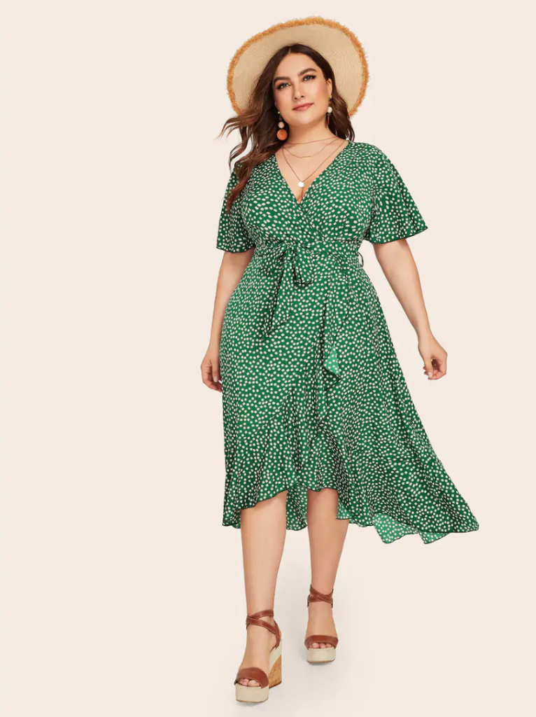 ditsy floral print plus size wrap dress