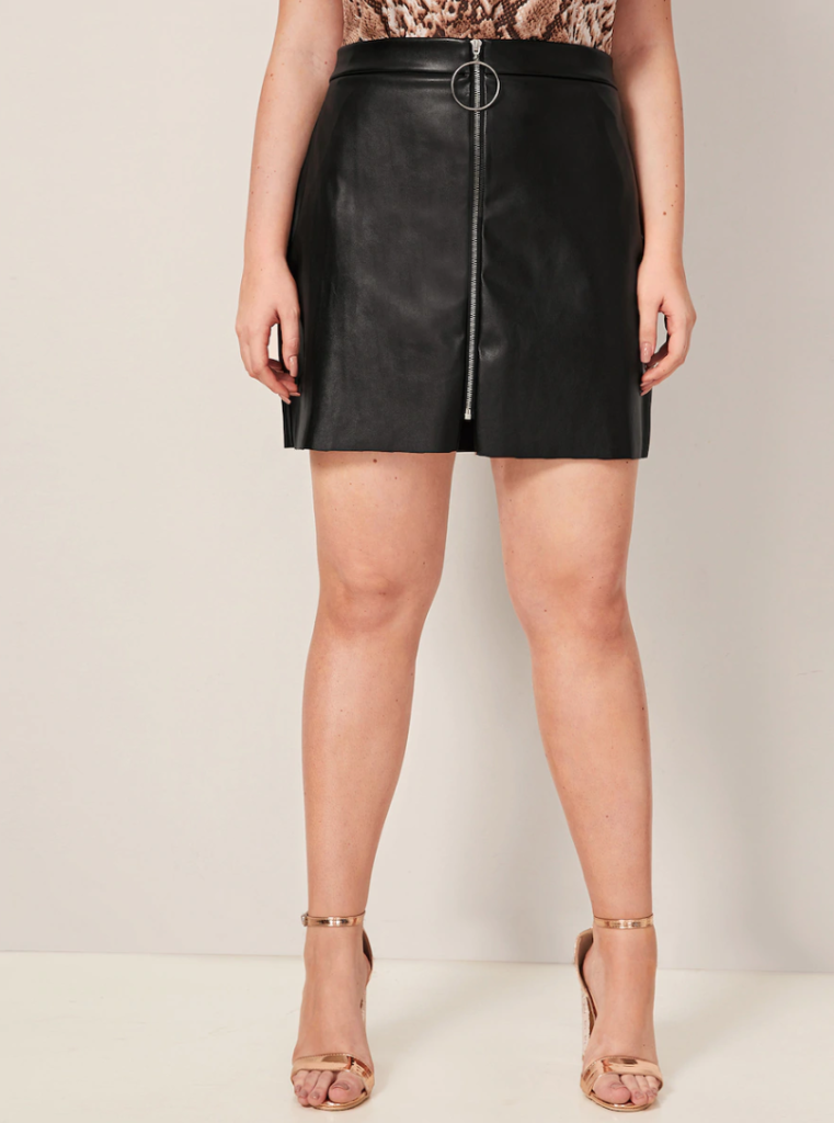 leatherette mini skirt with zip front
