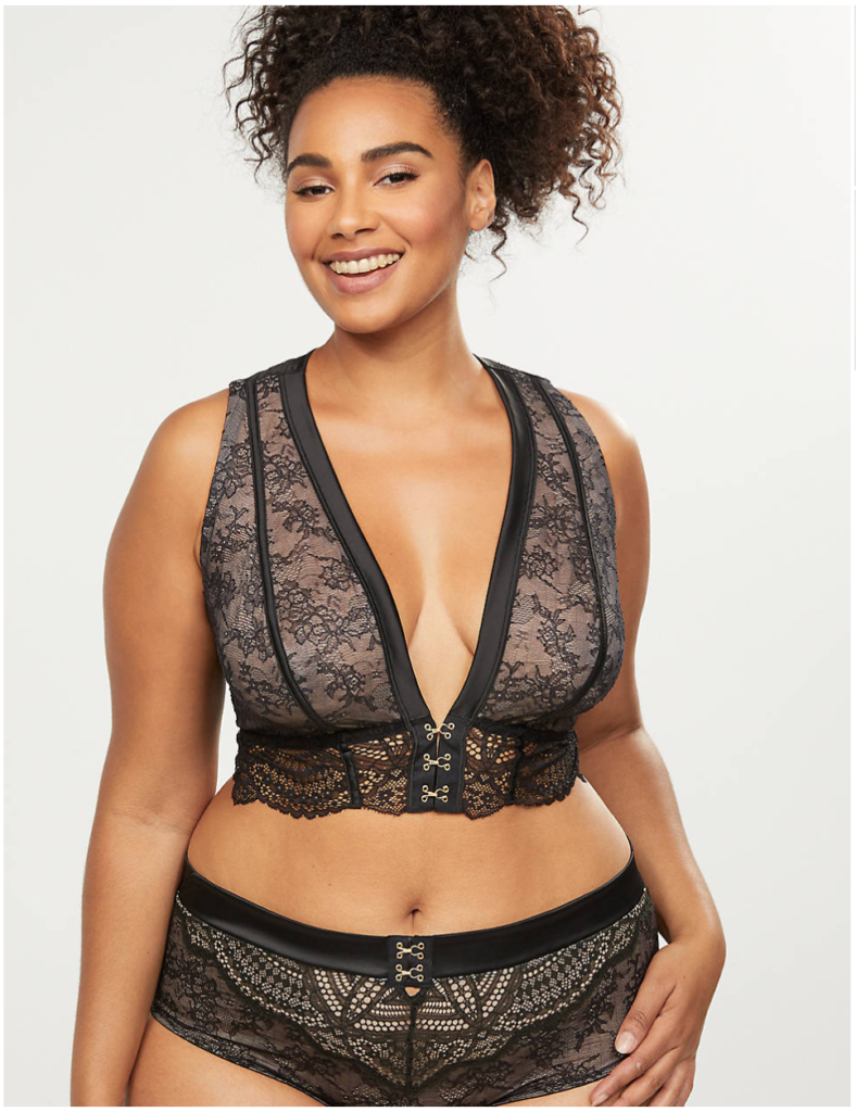 Black lace plus size longline deep v bra
