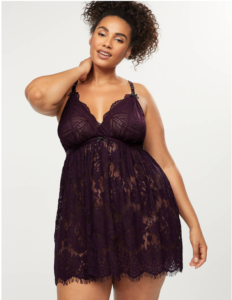 Dark purple plus size lace chemise with racerback