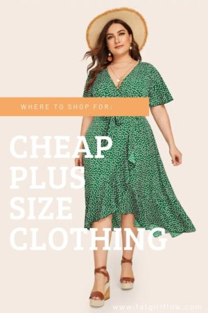 """brunette model wearing a short sleeved wrap dress and wide circle brim tan hat dress is dark green with small lime green dots. white text over image reads """"where to shop for: cheap plus size clothing"""""""