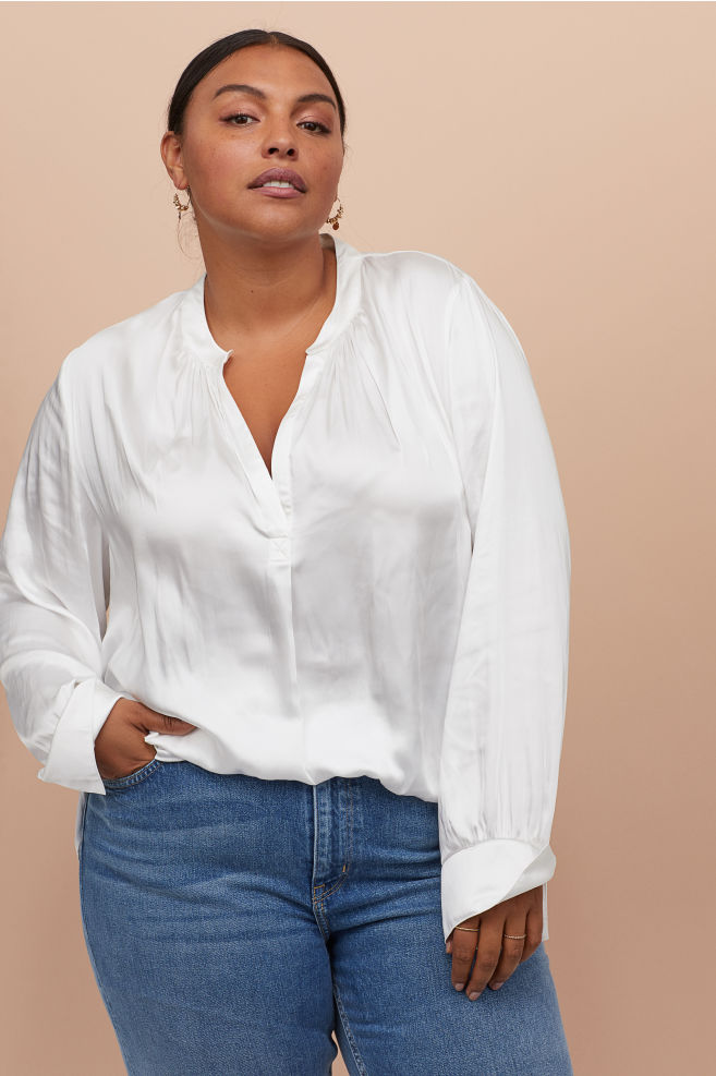 satin like blouse from hm plus size