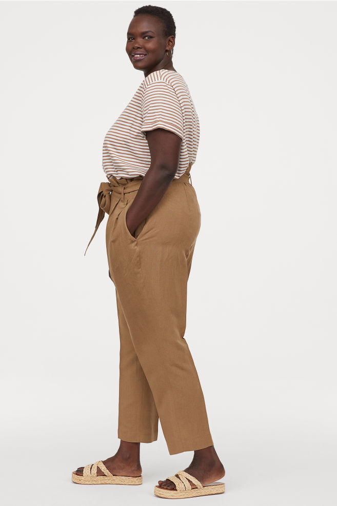 khaki plus size paper bag pants