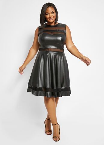plus size MESH TRIM FAUX LEATHER DRESS
