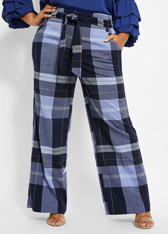 plus size BELTED PLAID HIGH-WAIST PANT