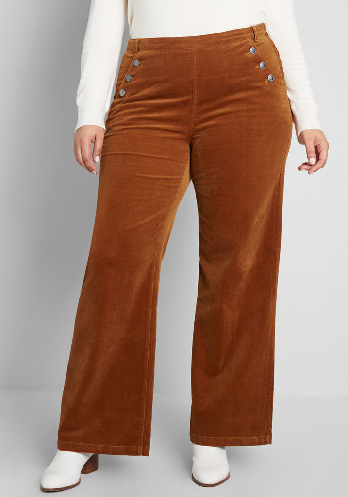 Plus size wide leg corduroy pant in rust