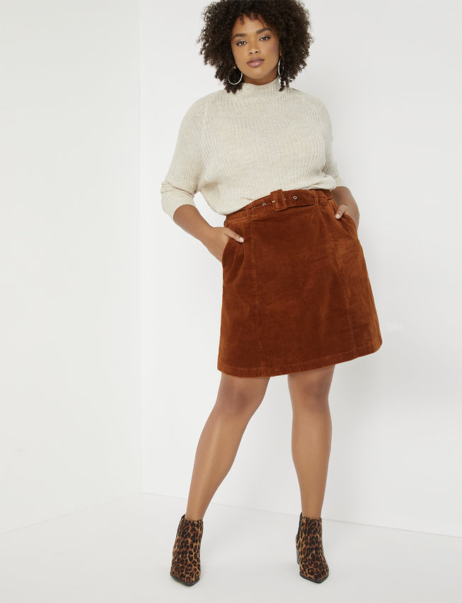 plus size corduroy skirt with belt in burnt orange