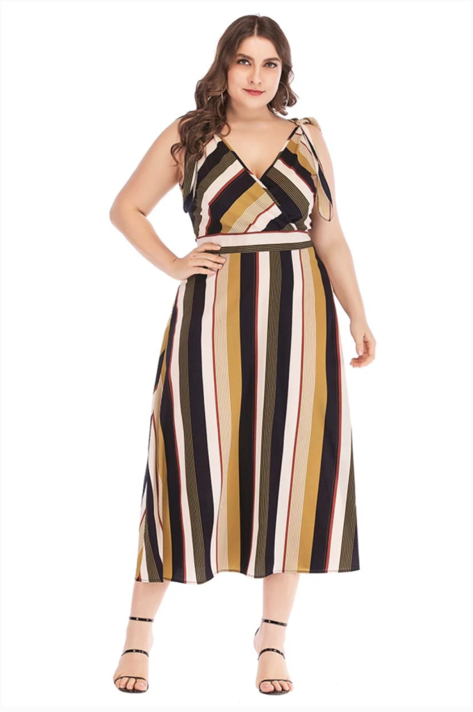 Striped plus size dress up to size 5x